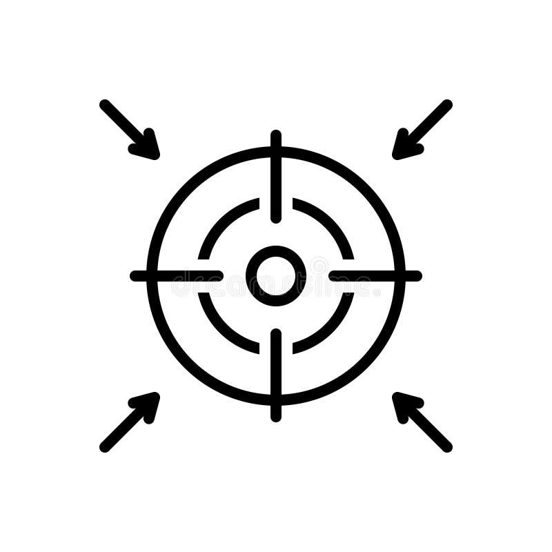 Línea negra icono para la meta, la ambición y la intención libre illustration
