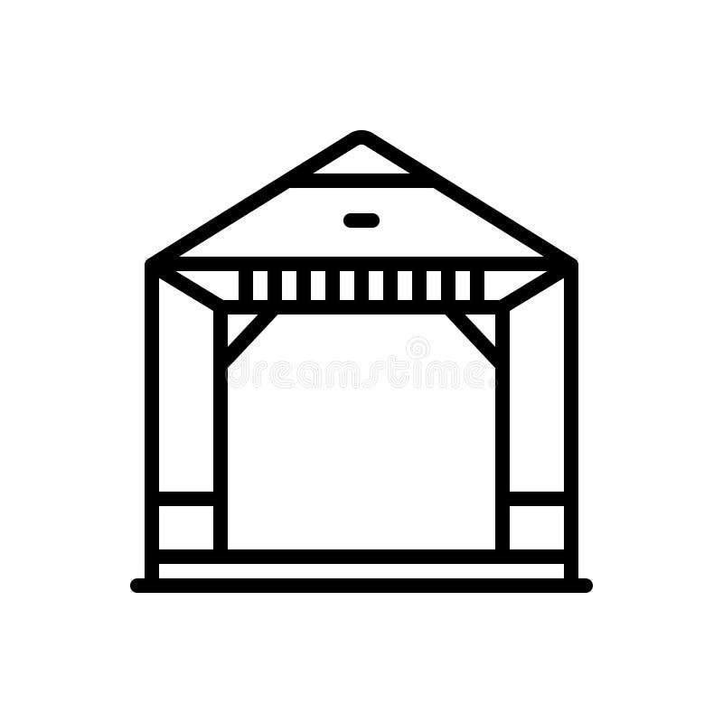 Línea negra icono para la pérgola, la barbacoa y la excursión stock de ilustración