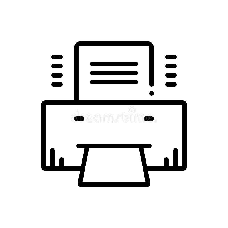 Línea negra icono para la producción, la máquina y automático de la impresión stock de ilustración