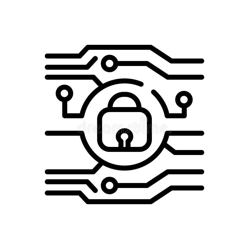Línea negra icono para la protección, la conservación y la tutela ilustración del vector