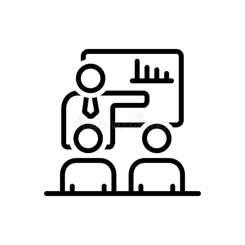 Línea negra icono para la reunión, la confrontación y la presentación de compañía ilustración del vector