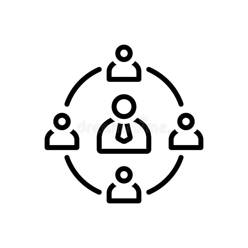 Línea negra icono para la reunión, la red y la conexión de negocios stock de ilustración