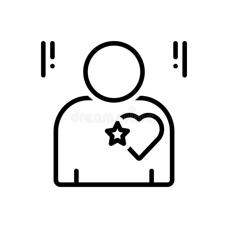 Línea negra icono para la sinceridad, la honradez y la sinceridad stock de ilustración