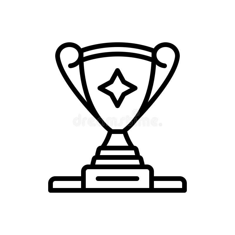Línea negra icono para la taza del trofeo en el atril del podio, del campeón y del logro stock de ilustración