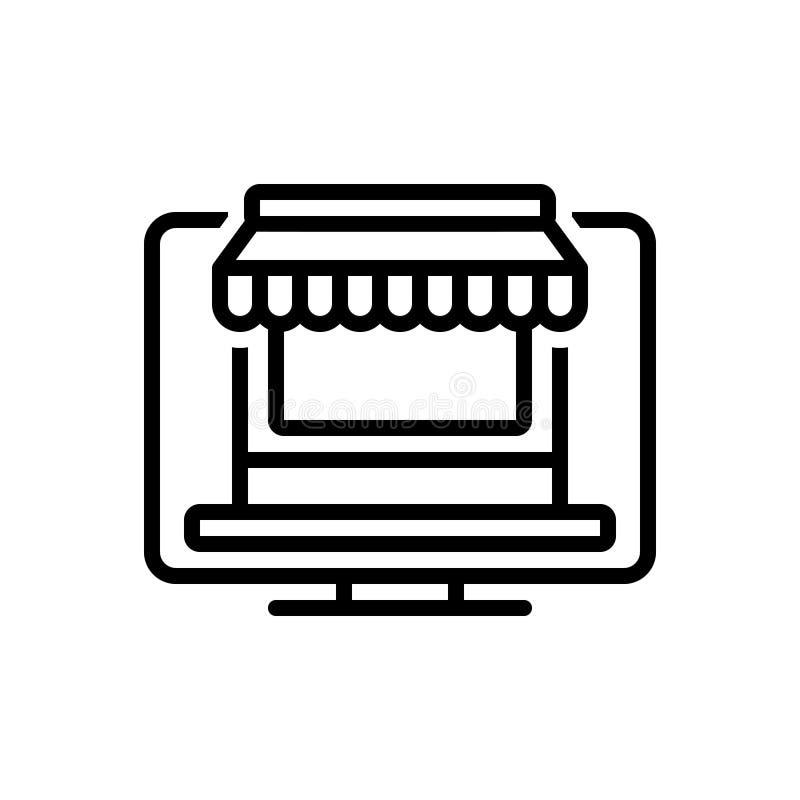 Línea negra icono para la tienda en línea, la tienda y Internet ilustración del vector