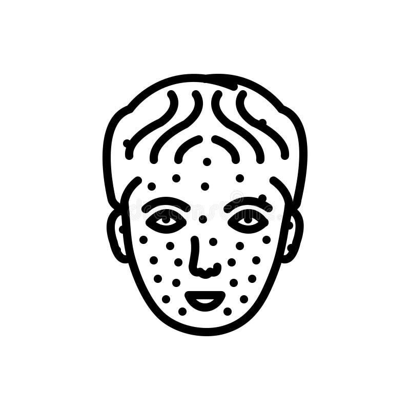 Línea negra icono para la varicela, médico y la enfermedad stock de ilustración