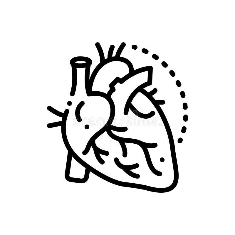 Línea negra icono para las arterias, las venas y el corazón libre illustration