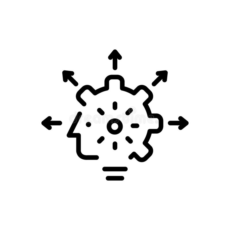 Línea negra icono para las capacidades, la capacitación y la capacidad libre illustration