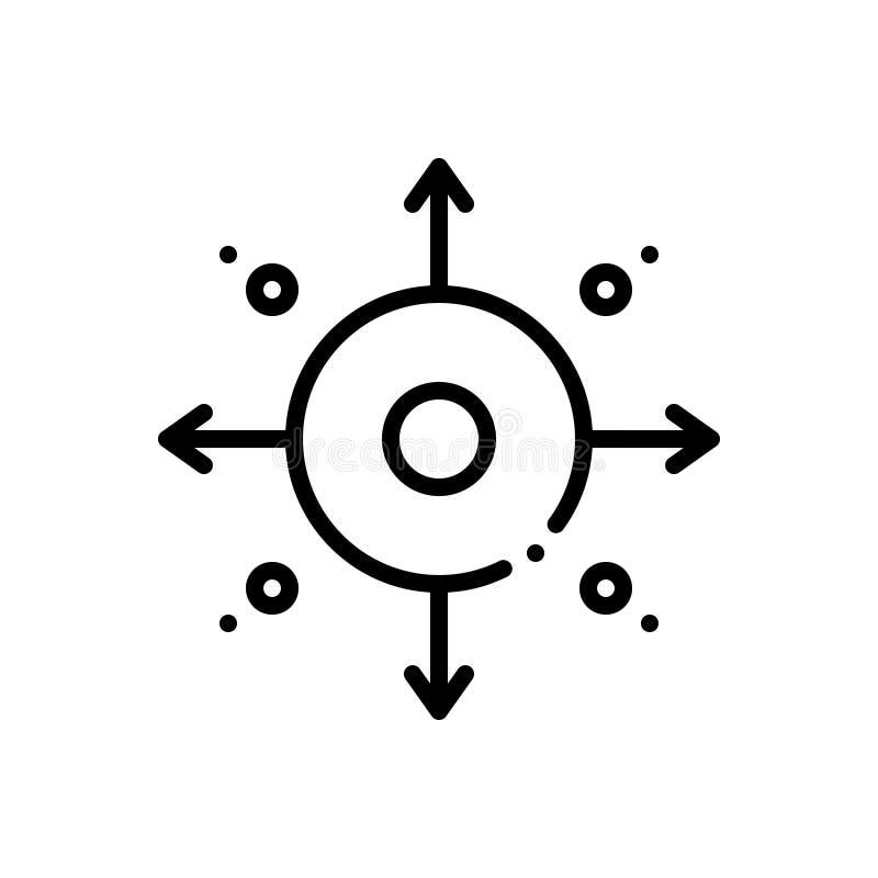 Línea negra icono para las capacidades, la eficacia y el funcionamiento stock de ilustración