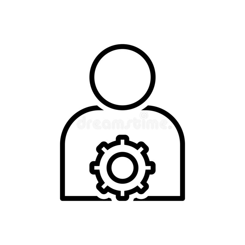 Línea negra icono para las configuraciones del usuario, el miembro y el ajuste ilustración del vector