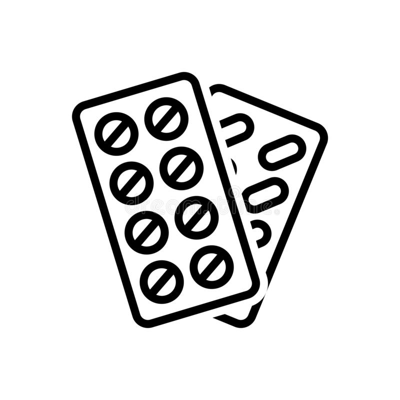 Línea negra icono para las píldoras, la tableta y el antibiótico stock de ilustración