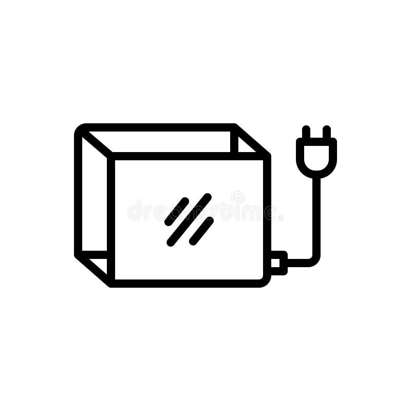 Línea negra icono para Lightbox, el voltaje y la resistencia ilustración del vector