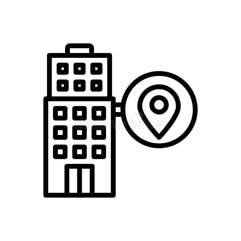 Línea negra icono para local, los mapas y la localización stock de ilustración