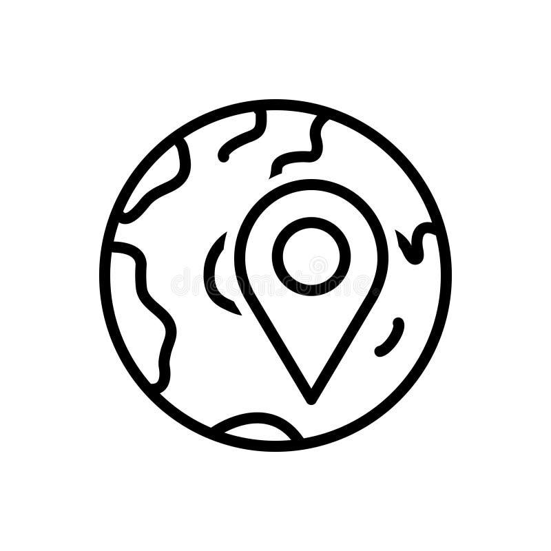 Línea negra icono para localmente, app y localización ilustración del vector