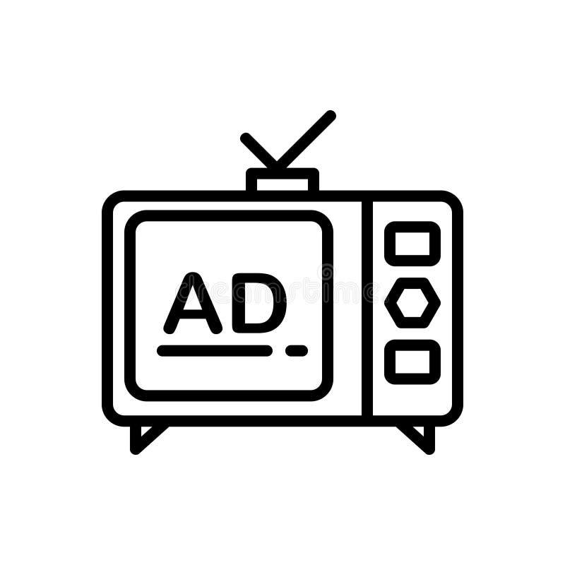 Línea negra icono para los anuncios, la difusión y la comercialización de la televisión libre illustration