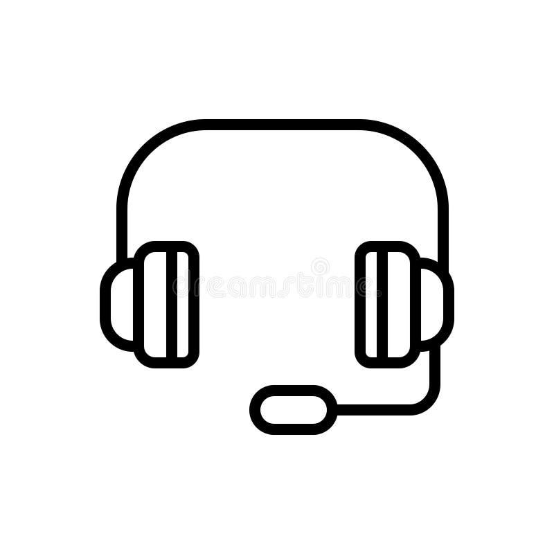 Línea negra icono para los auriculares, el servicio y el operador libre illustration