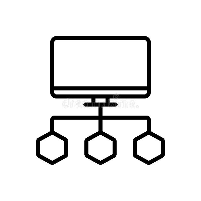 Línea negra icono para los datos de Connecte, el organigrama y el proceso stock de ilustración