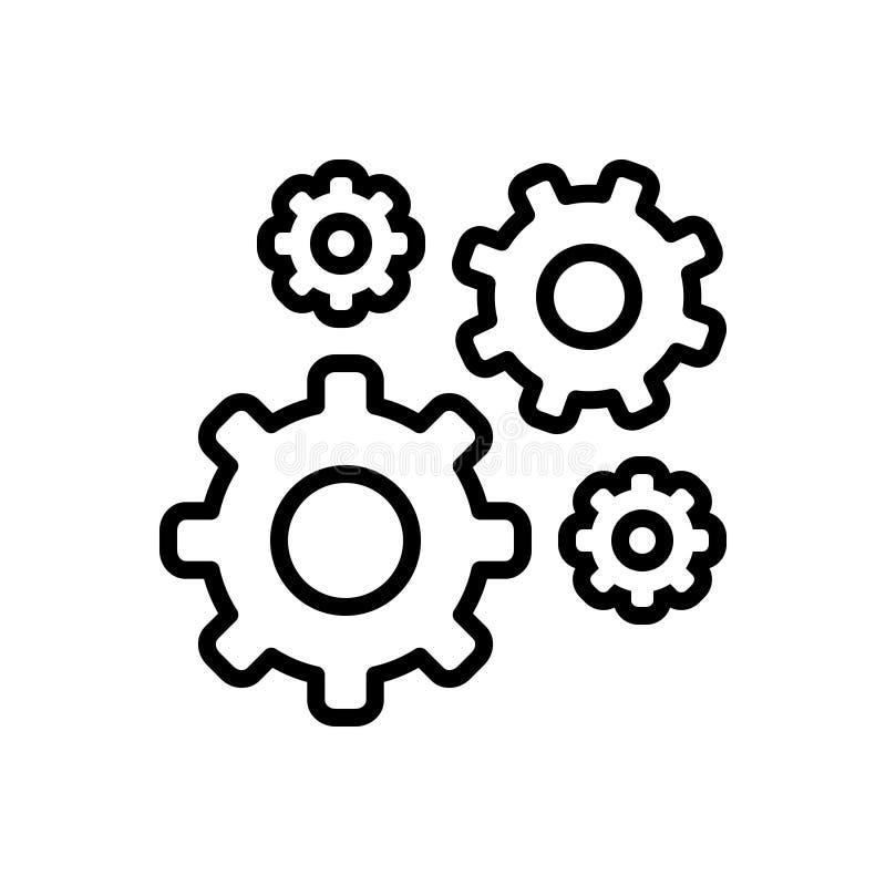 Línea negra icono para los engranajes, el aparato y la maquinaria libre illustration