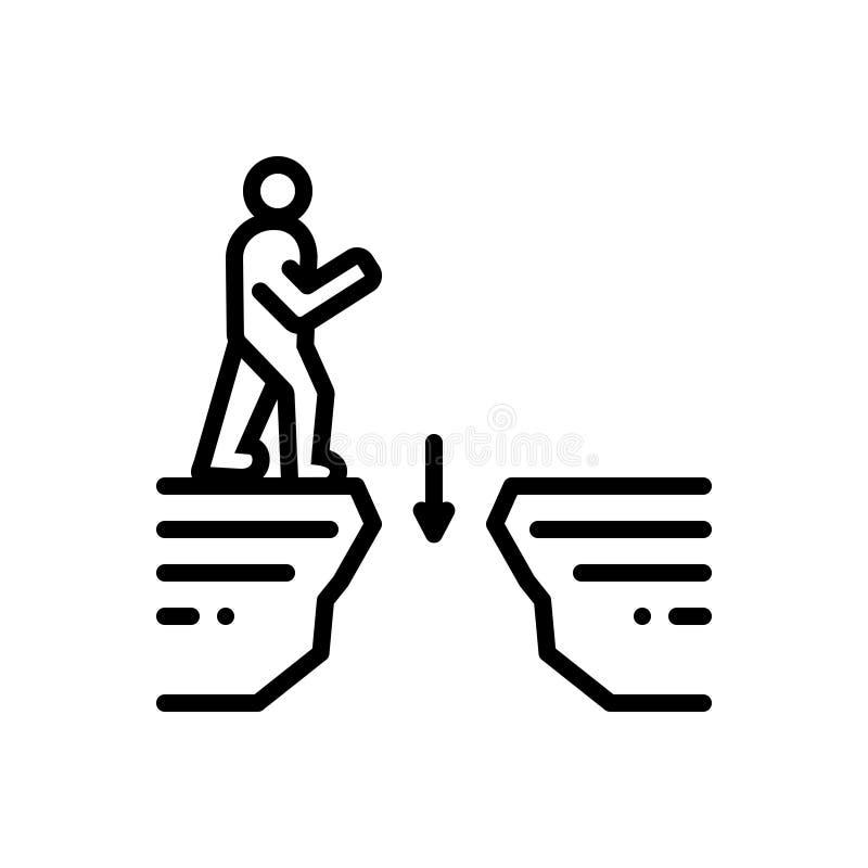 Línea negra icono para los huecos, el intervalo y el espacio libre illustration