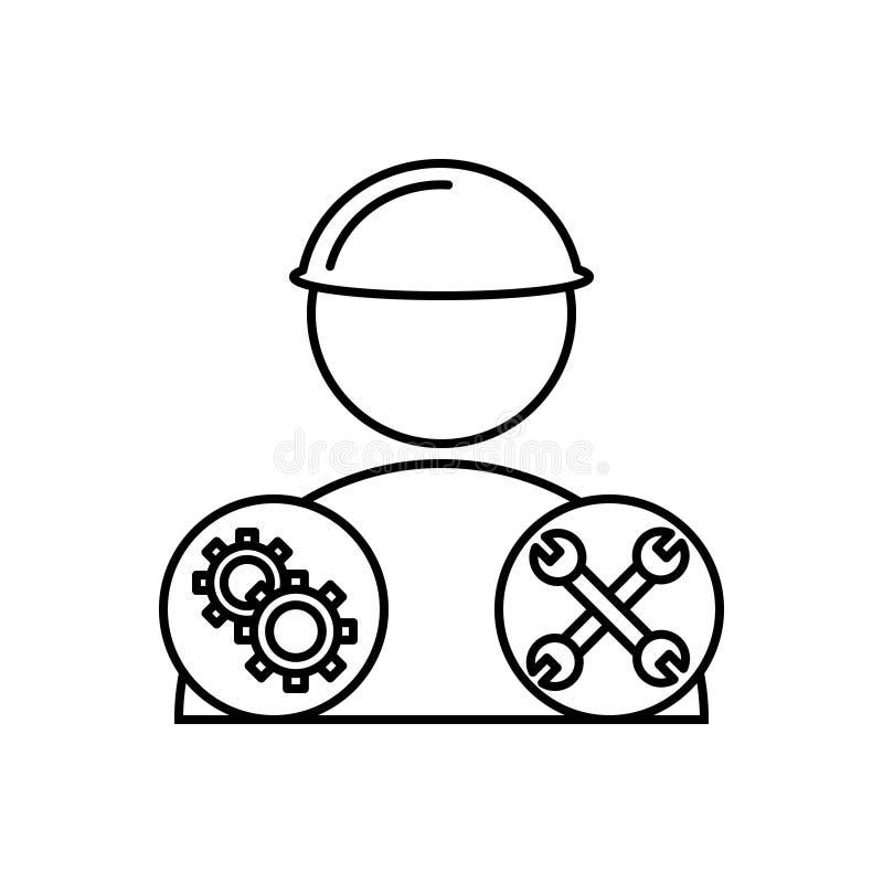 Línea negra icono para los mecánicos, las herramientas y el mecánico stock de ilustración