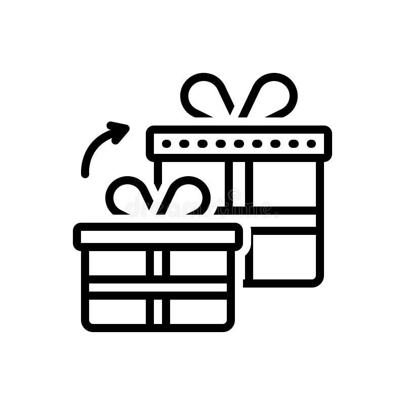 Línea negra icono para los regalos, el carenado y la generosidad Get libre illustration