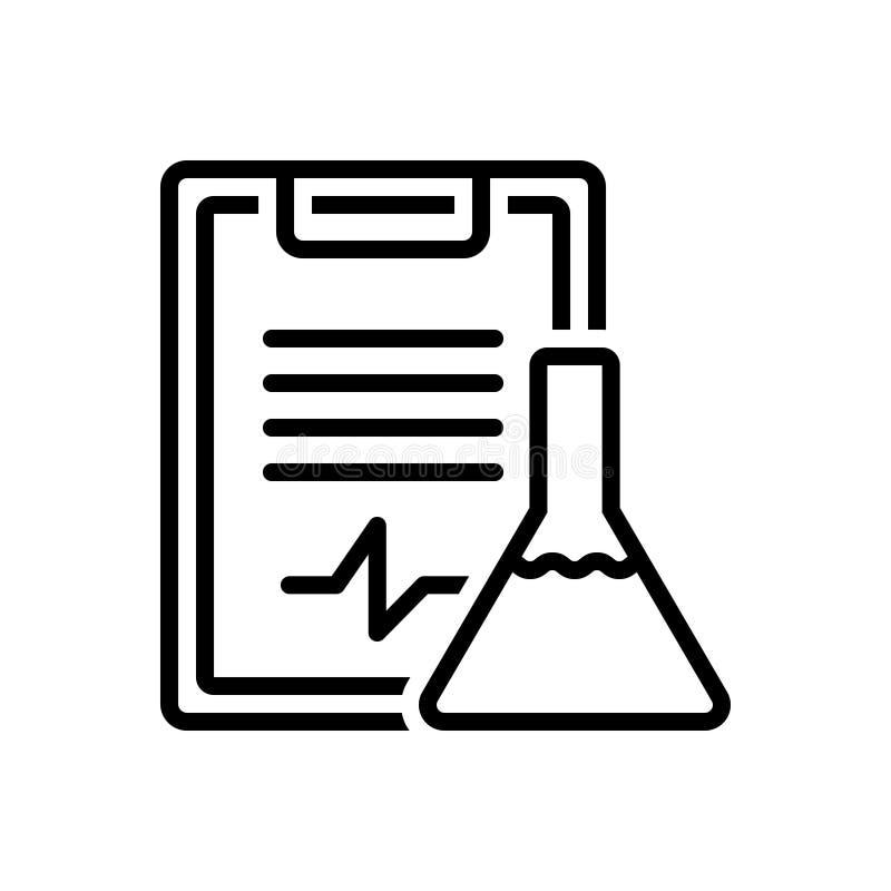 Línea negra icono para los resultados, la reacción y la prueba del experimento ilustración del vector