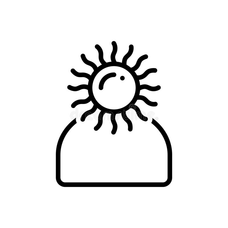 Línea negra icono para optimista, la personalidad y esperanzado libre illustration