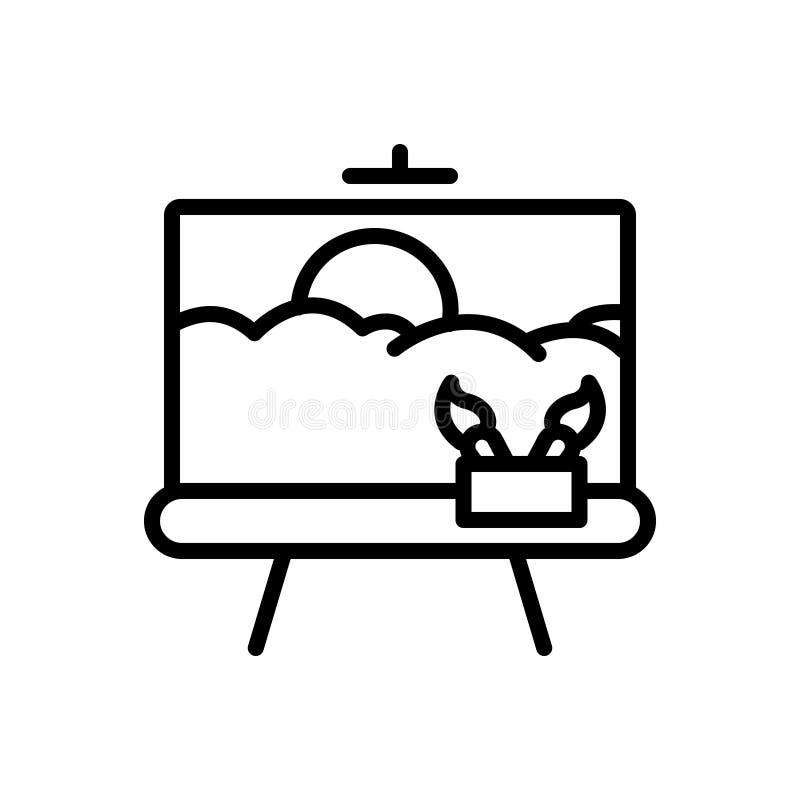 Línea negra icono para pintar, el arte y el dibujo libre illustration