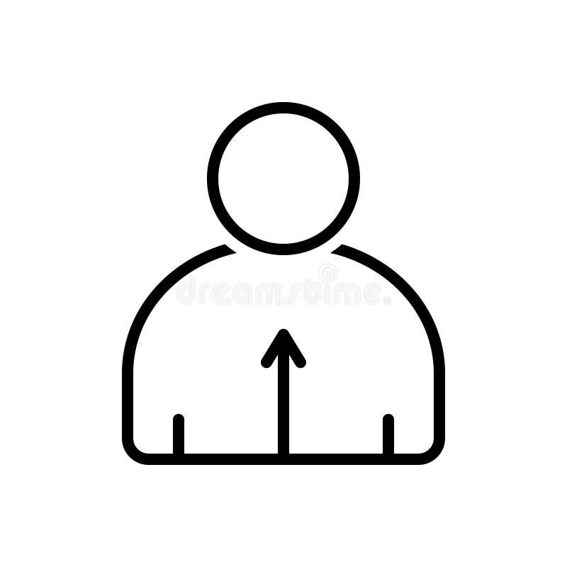 Línea negra icono para sensible, la personalidad y sensible ilustración del vector