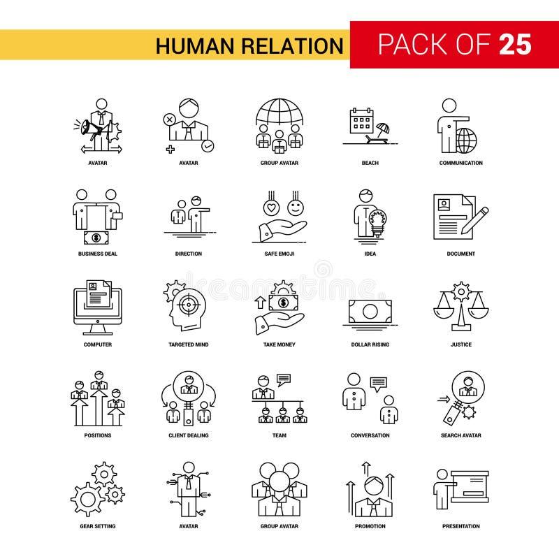 Línea negra icono - sistema de la relación humana del icono del esquema de 25 negocios ilustración del vector