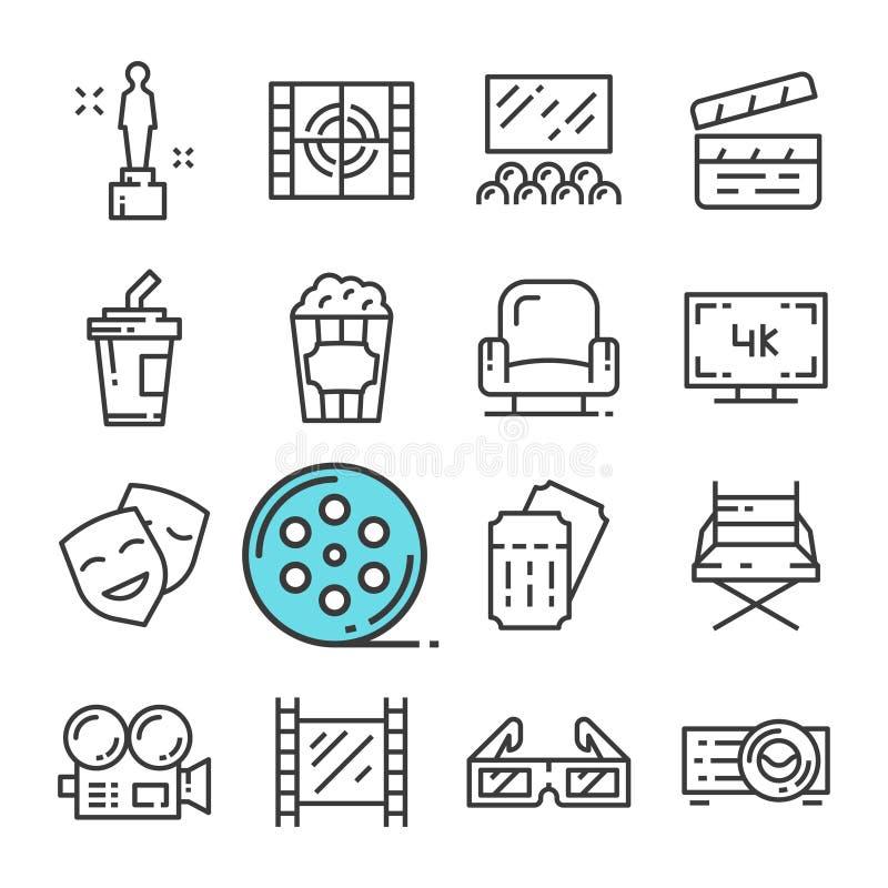 Línea negra iconos del vector del cine fijados Incluye los iconos tales como el premio, Pasillo, boleto, palomitas stock de ilustración