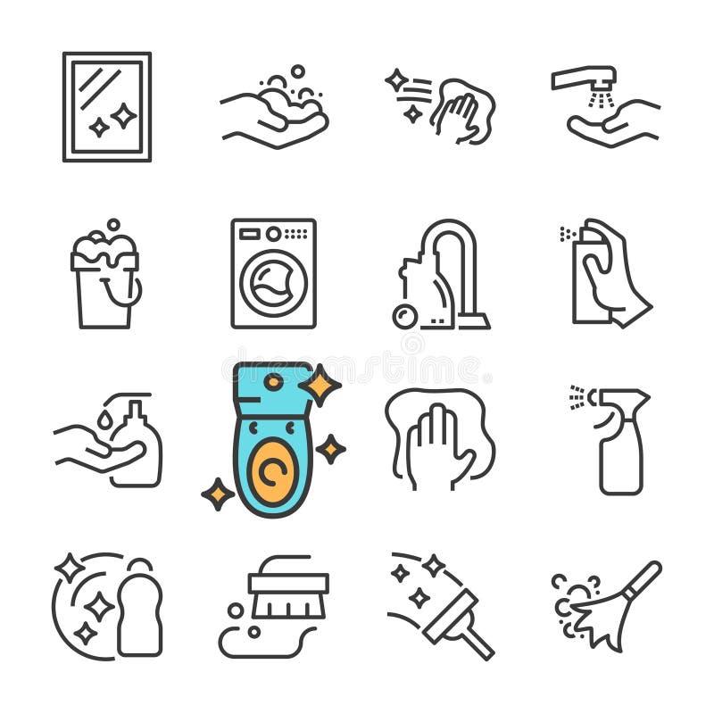 Línea negra iconos del vector de la limpieza fijados Incluye los iconos tales como la superficie limpia, polvo, espuma, detergent stock de ilustración