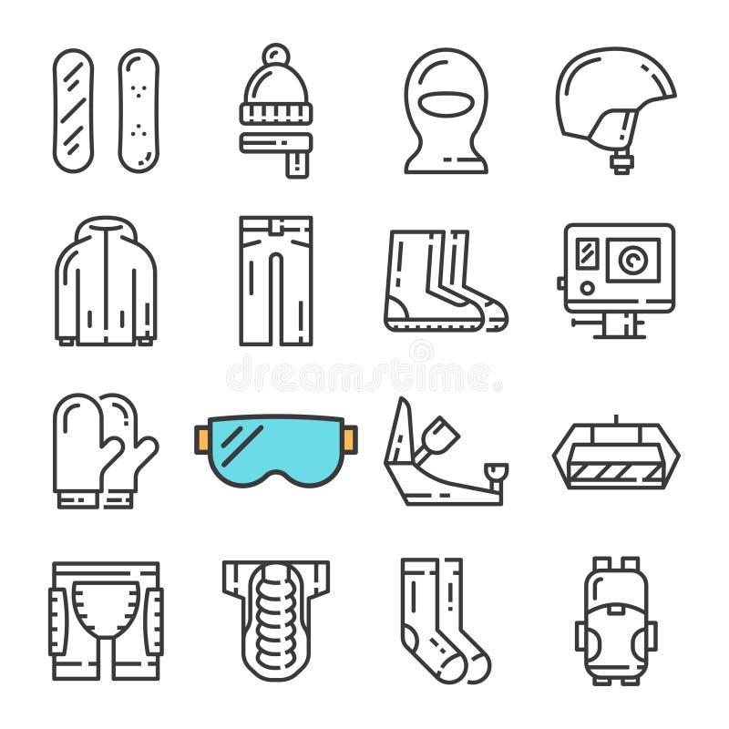 Línea negra iconos del vector de la snowboard fijados Incluye los iconos tales como la snowboard, armadura, cámara web, pasamonta stock de ilustración
