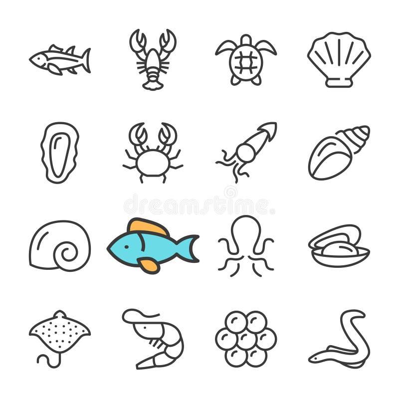 Línea negra iconos del vector de los mariscos fijados Incluye los iconos tales que camarón, pescado, cangrejo, caviar stock de ilustración