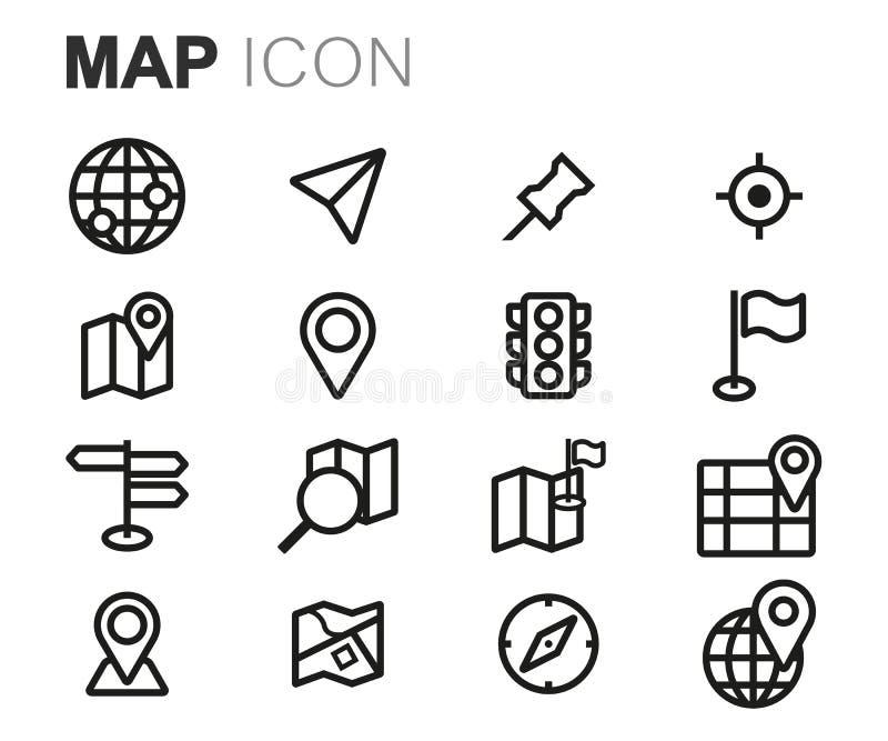 Línea negra iconos del vector del mapa fijados stock de ilustración
