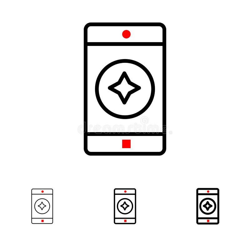 Línea negra intrépida y fina preferida sistema del móvil, del móvil, de la aplicación móvil del icono ilustración del vector