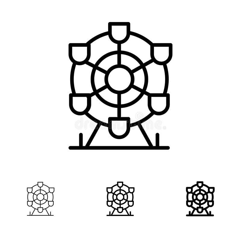 Línea negra intrépida y fina sistema de Ferris, del parque, de la rueda, de Canadá del icono stock de ilustración