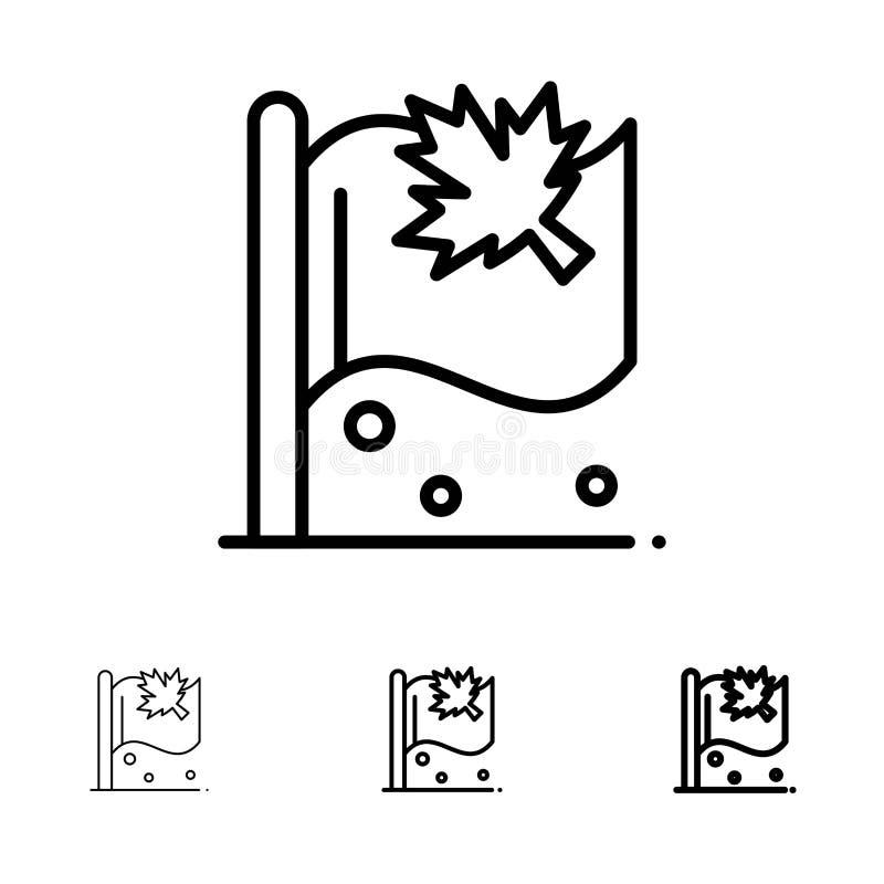 Línea negra intrépida y fina sistema de la bandera, de Canadá, de la hoja, de la muestra del icono libre illustration