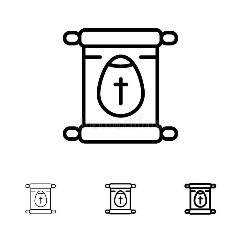 Línea negra intrépida y fina sistema de la educación, de la escuela, de la voluta, de Pascua del icono stock de ilustración