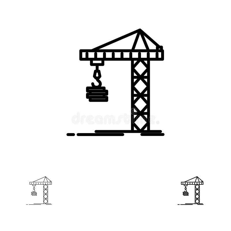 Línea negra intrépida y fina sistema de la grúa, del edificio, de la construcción, el construir, de la torre del icono ilustración del vector