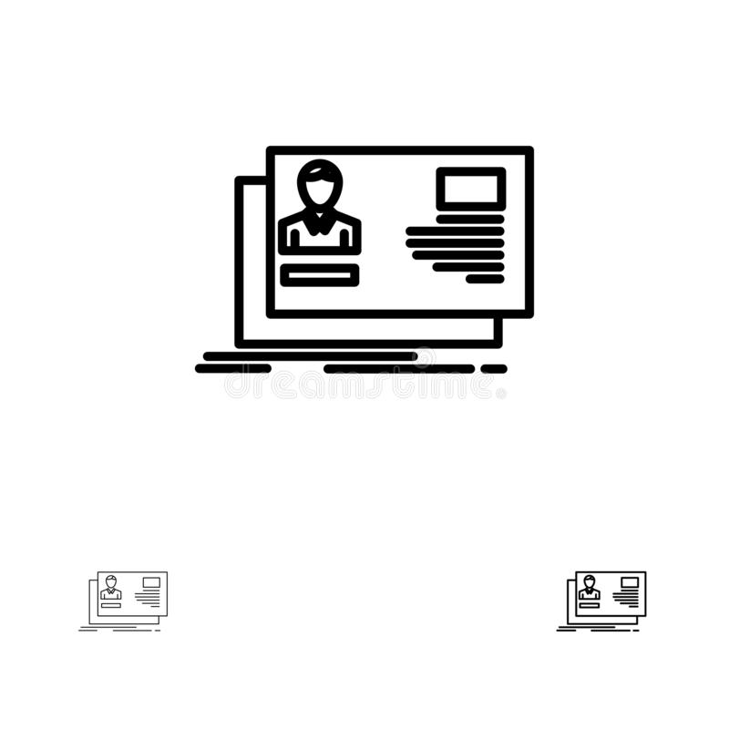 Línea negra intrépida y fina sistema de la identificación, del usuario, de la identidad, de la tarjeta, de la invitación del icon libre illustration