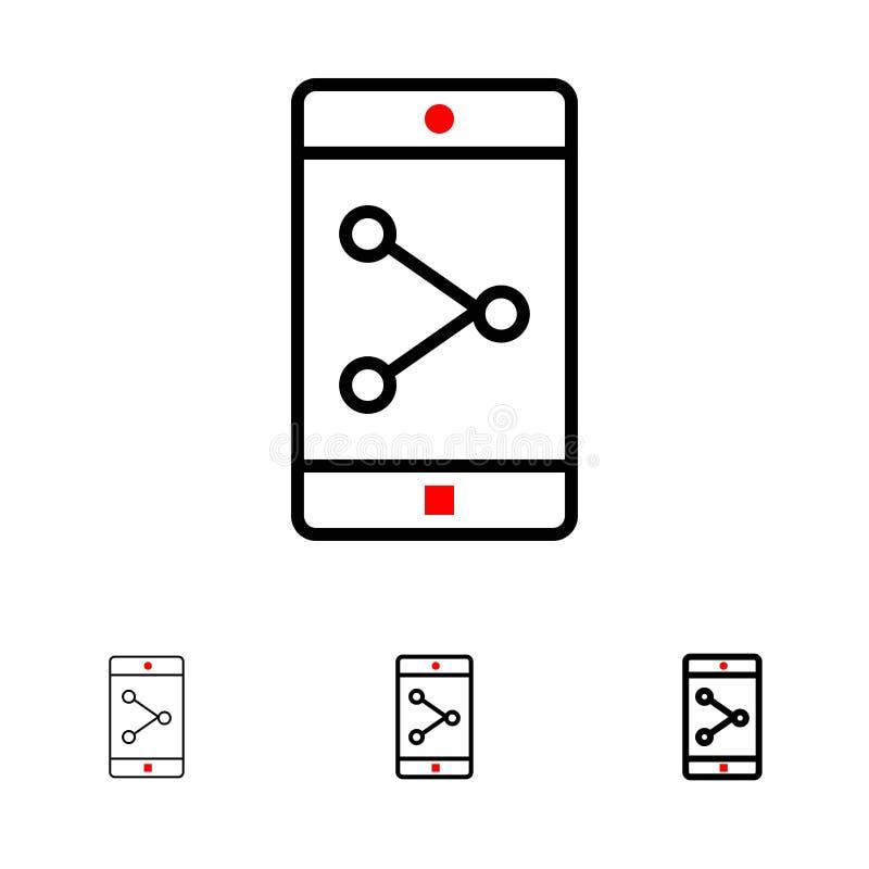 Línea negra intrépida y fina sistema de la parte, del móvil, de la aplicación móvil del App del icono libre illustration
