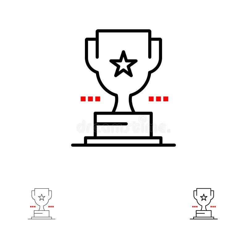 Línea negra intrépida y fina sistema de la taza, del trofeo, del premio, del logro del icono stock de ilustración