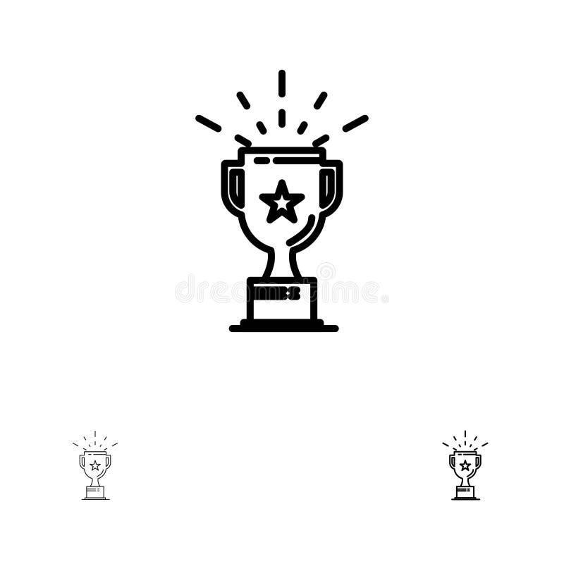 Línea negra intrépida y fina sistema de la taza, de la medalla, del premio, del trofeo del icono ilustración del vector
