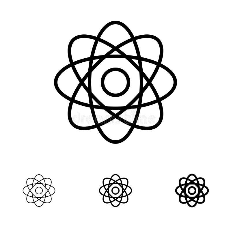 Línea negra intrépida y fina sistema del átomo, de la bioquímica, de la química, del laboratorio del icono ilustración del vector