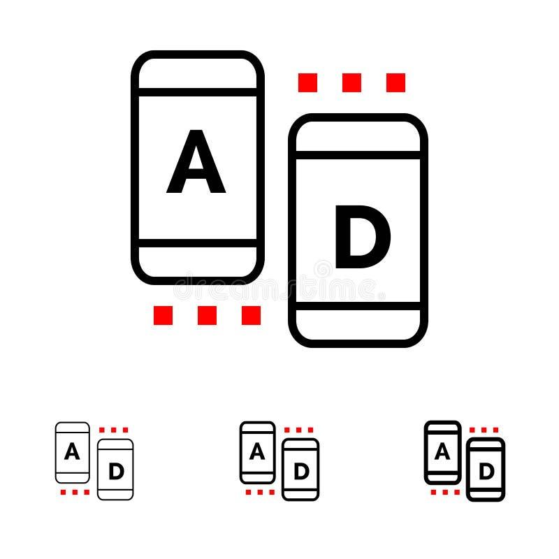 Línea negra intrépida y fina sistema del anuncio, del márketing, en línea, de la tableta del icono ilustración del vector
