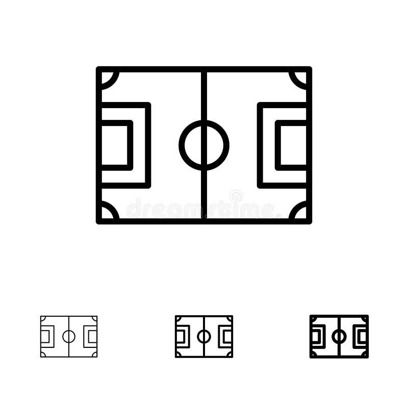 Línea negra intrépida y fina sistema del campo, del fútbol, del juego, de la echada, del fútbol del icono ilustración del vector