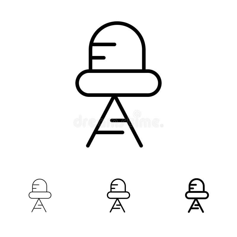 Línea negra intrépida y fina sistema del diodo, llevado, ligero del icono ilustración del vector