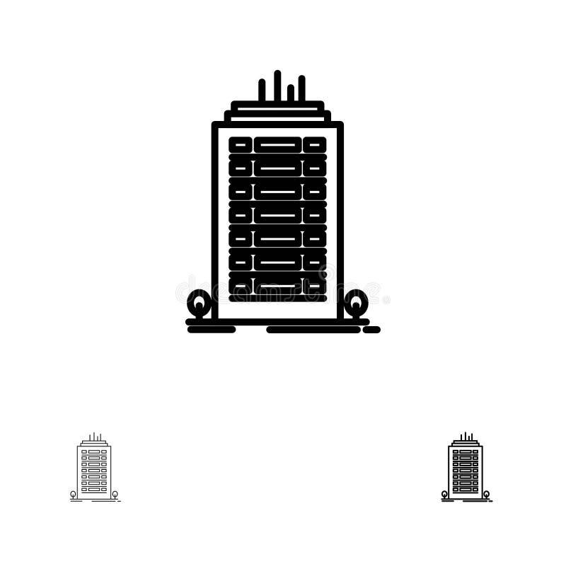 Línea negra intrépida y fina sistema del edificio, de la oficina, del rascacielos, de la torre del icono stock de ilustración