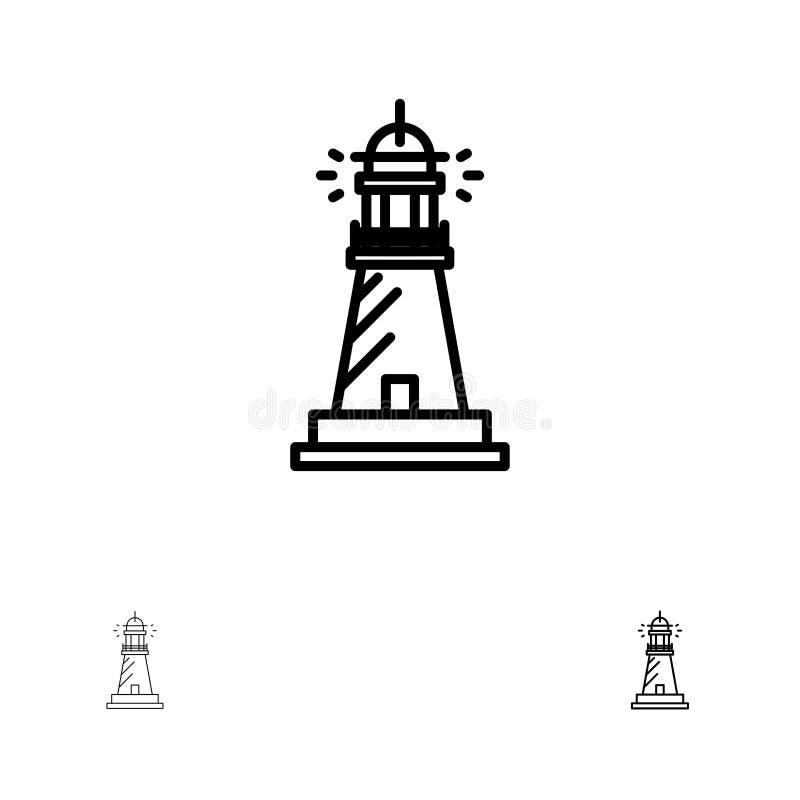 Línea negra intrépida y fina sistema del faro, de la casa, de la luz, de la playa, del océano del icono stock de ilustración